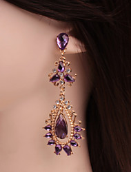 cheap -Women's Crystal Amethyst Stud Earrings Drop Earrings Hanging Earrings Pear Cut Long Drop Dainty Ladies Classic Fashion Crystal Earrings Jewelry Purple For Wedding Party Masquerade Engagement Party