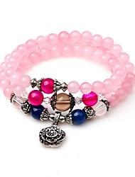cheap -Women's Crystal Bead Bracelet Wrap Bracelet Flower Vintage Elegant Crystal Bracelet Jewelry Pink For Gift Carnival