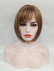 cheap -Synthetic Wig Straight Straight Bob Wig Medium Length Flaxen Synthetic Hair Women's Side Part Brown