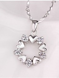 cheap -Women's Synthetic Diamond Pendant Necklace Heart Flower Ladies Classic Sweet Alloy Silver Necklace Jewelry For Wedding Daily Masquerade Engagement Party Prom Promise