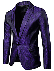 cheap -Men's Party / Daily / Daily Wear Sophisticated Spring / Fall Regular Blazer, Solid Colored / Floral Shirt Collar Long Sleeve Polyester / Spandex Black / White / Purple / Slim