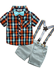 cheap -Toddler Boys' Casual Plaid Short Sleeve Cotton Clothing Set Red