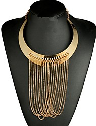 cheap -Women's Chain Necklace Statement Necklace Liquid Silver Necklace Statement Ethnic Fashion Oversized Alloy Gold Necklace Jewelry For Evening Party Club