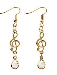cheap -Women's Cubic Zirconia Drop Earrings Long Music Music Notes Ladies Classic Fashion Zircon Earrings Jewelry Gold For Daily
