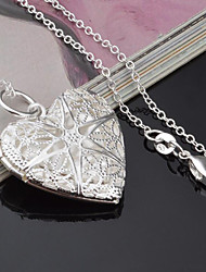 cheap -Women's Pendant Necklace Heart Ladies Fashion Silver Plated Silver Necklace Jewelry One-piece Suit For Gift