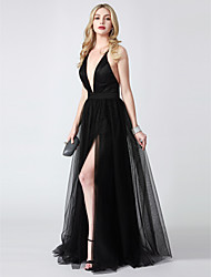 cheap -A-Line Plunging Neck Floor Length Tulle Chic & Modern / Beautiful Back / Furcal Formal Evening / Black Tie Gala Dress with Split Front 2020