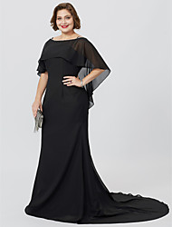 cheap -Mermaid / Trumpet Bateau Neck Floor Length / Sweep / Brush Train Chiffon Short Sleeve Classic & Timeless / Elegant & Luxurious / Open Back Mother of the Bride Dress with Beading 2020