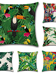 cheap -6 pcs Cotton / Linen Pillow Cover, Botanical European Throw Pillow