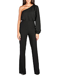 cheap -Women's Off Shoulder Daily Wear Basic One Shoulder Wine White Black Wide Leg Slim Jumpsuit Onesie, Solid Color Flare Cuff Sleeve S M L Long Sleeve Spring Summer