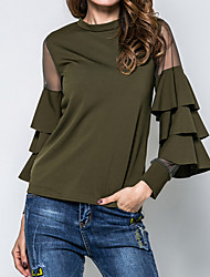 cheap -Women's Party Going out Weekend Street chic Cotton Blouse - Solid Colored Mesh Black / Spring / Fall / Ruffle / Sheer