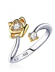 cheap -Women's Couple Rings wrap ring Diamond Cubic Zirconia One-piece Suit Gold White Gold Plated Fashion Wedding Gift Jewelry Two tone Two Stone Crown