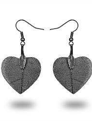 cheap -Women's Drop Earrings Hoop Earrings Leaf Heart Classic European Fashion Rose Gold Gold Plated Silver Earrings Jewelry Black / Silver / Rose Gold For Daily Date
