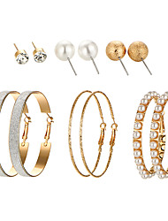 cheap -Women's Stud Earrings Hoop Earrings Statement Ladies Simple Korean Earrings Jewelry Gold / Silver For Wedding Gift Daily Evening Party Masquerade Engagement Party