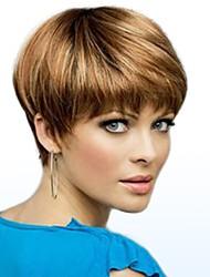 cheap -Human Hair Wig Short Straight Straight Side Part Machine Made Women's Black#1B Medium Auburn Strawberry Blonde / Light Blonde 8 inch