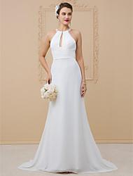 cheap -Sheath / Column Halter Neck Floor Length Chiffon / Sheer Lace Regular Straps Beautiful Back Made-To-Measure Wedding Dresses with Beading / Criss Cross 2020