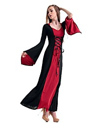 cheap -Classic Lolita Princess Lolita Elegant Dress Cosplay Costume Masquerade Women's Japanese Cosplay Costumes Red Patchwork Halloween Long Sleeve Ankle Length