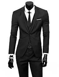 cheap -Men's Work Fall Regular Suits, Solid Colored Long Sleeve Polyester Basic Light Blue / Dark Gray / Light gray / Business Formal / Slim