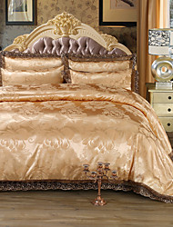 cheap -Duvet Cover Sets Luxury Faux Silk Jacquard 4 PieceBedding Sets / 500 / 4pcs (1 Duvet Cover, 1 Flat Sheet, 2 Shams)