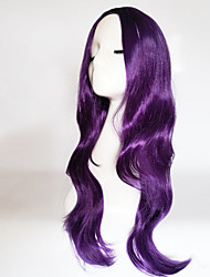 cheap -Synthetic Wig Curly Natural Wave Natural Wave Asymmetrical Wig Long Purple Synthetic Hair Women's Natural Hairline Middle Part Purple
