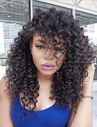 Недорогие -Натуральные волосы Бесклеевая сплошная кружевная основа Полностью ленточные Парик Стрижка боб Стрижка каскад С пушком стиль Бразильские волосы Kinky Curly Парик 150% Плотность волос / Необработанные