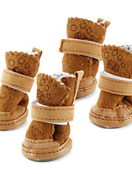 cheap -Dog Boots / Shoes Snow Boots Keep Warm Fashion Solid Colored For Pets Cotton Brown / Winter