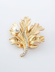 cheap -Women's Brooches Leaf Classic Fashion Imitation Pearl Imitation Diamond Brooch Jewelry Gold Silver For Daily