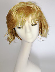 cheap -Synthetic Wig Curly Natural Wave Natural Wave Asymmetrical With Bangs Wig Blonde Short Blonde Synthetic Hair Women's Highlighted / Balayage Hair Natural Hairline Blonde