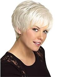 cheap -Human Hair Blend Wig Short Straight Short Hairstyles 2020 Straight Side Part Machine Made Women's Natural Black #1B Medium Auburn#30 White 8 inch