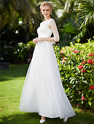 cheap -A-Line Bateau Neck Ankle Length Tulle Over Lace 3/4 Length Sleeve Open Back / See-Through Made-To-Measure Wedding Dresses with Appliques / Bow(s) / Sashes / Ribbons 2020 / Illusion Sleeve