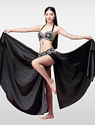 cheap -Belly Dance Outfits Women's Performance Cotton Polyester Satin Beading Crystals / Rhinestones Split Skirts Bra Belt