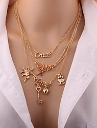 cheap -Women's Layered Necklace Simple Elegant Rhinestone Alloy Gold Necklace Jewelry For Daily Going out
