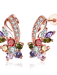 cheap -Women's Cubic Zirconia Stud Earrings Flower Ladies Cubic Zirconia Rose Gold Plated Earrings Jewelry White / Rainbow For Party Casual