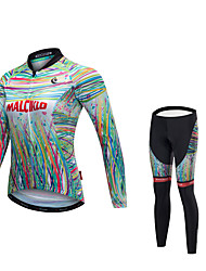 cheap -Malciklo Women's Long Sleeve Cycling Jersey with Tights Green / Yellow Bike Clothing Suit Quick Dry Anatomic Design Reflective Strips Winter Sports Lycra Painting Mountain Bike MTB Road Bike Cycling