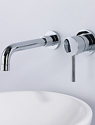 cheap -Contemporary Modern Style Widespread Wall Mount High Quality Ceramic Valve Single Handle Two Holes Chrome, Bathroom Sink Faucet