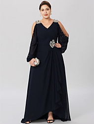 cheap -Sheath / Column V Neck Asymmetrical Chiffon / Stretch Satin Long Sleeve Classic & Timeless / Elegant & Luxurious / Open Back Mother of the Bride Dress with Crystals / Criss Cross 2020 / Bishop Sleeve