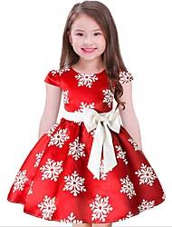 cheap -Kids Girls' Casual Floral Christmas Short Sleeve Dress Blue