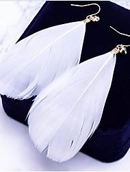 cheap -Women's Drop Earrings Dangle Earrings Leaf Feather Ladies Bohemian Oversized Boho Feather Earrings Jewelry White / Blue / Pink For Street Daily