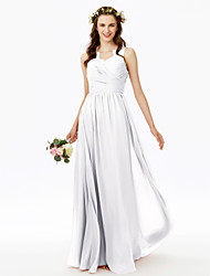 cheap -A-Line V Neck Floor Length Chiffon Bridesmaid Dress with Lace / Criss Cross / Pleats