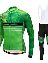 cheap -CYCOBYCO Men's Long Sleeve Cycling Jersey with Bib Tights Winter Fleece Lycra Yellow Red Blue Dot Bike Clothing Suit Fleece Lining 3D Pad Quick Dry Sports Dot Mountain Bike MTB Road Bike Cycling