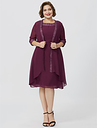 cheap -Sheath / Column Jewel Neck Knee Length Chiffon Half Sleeve Classic & Timeless / Elegant & Luxurious / Plus Size Mother of the Bride Dress with Pleats Mother's Day 2020