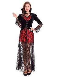 cheap -Vampire Cosplay Costume Women's Halloween Carnival Oktoberfest Beer Festival / Holiday Lace Velour Red Women's Carnival Costumes Botanical