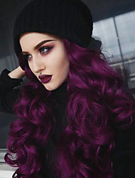 abordables -Perruque Lace Front Synthétique Ondulé Ondulé Avec Mèches Avant Lace Frontale Perruque Long Lavande Cheveux Synthétiques Femme Violet EEWigs