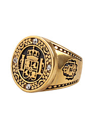 cheap -Men's Statement Ring Gold Silver Titanium Steel Statement Vintage Rock Daily Casual Jewelry High School Rings Class family crest
