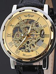 cheap -WINNER Men's Wrist Watch Mechanical Watch Automatic self-winding Luxury Hollow Engraving Analog Bronze Black / Silver White / Silver / Leather