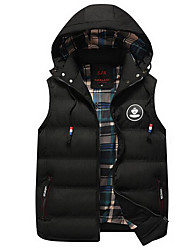 cheap -Men's Daily / Going out / Weekend Street chic Fall / Winter Regular Vest, Solid Colored Hooded Sleeveless Polyester Black / Wine / Army Green