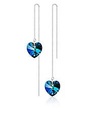 cheap -Women's Crystal Drop Earrings Heart Ladies Elegant Sweet Crystal Earrings Jewelry Royal Blue For Daily Ceremony