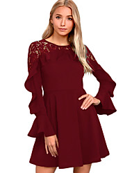 cheap -Women's Ruffle Party Club Mini Lace Dress - Solid Colored Lace High Waist Winter Black Red S M L