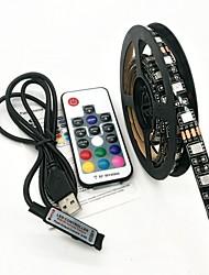 cheap -200CM LED Light Strips RGB Tiktok Lights USB 5V Black Waterproof 15W 5050 10mm with 17Key RF Controller DC 5V