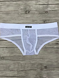cheap -Men's Mesh Super Sexy Briefs Underwear Solid Colored Mid Waist White