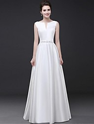 cheap -A-Line Elegant White Engagement Formal Evening Dress Boat Neck Sleeveless Floor Length Satin with Beading 2020